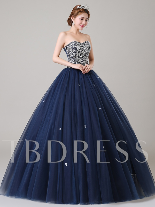 Sweetheart Sequins Beaded Ball Gown Quinceanera Dress