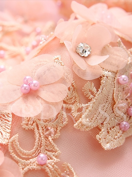 Jewel Appliques Beading Pearls Quinceanera Dress