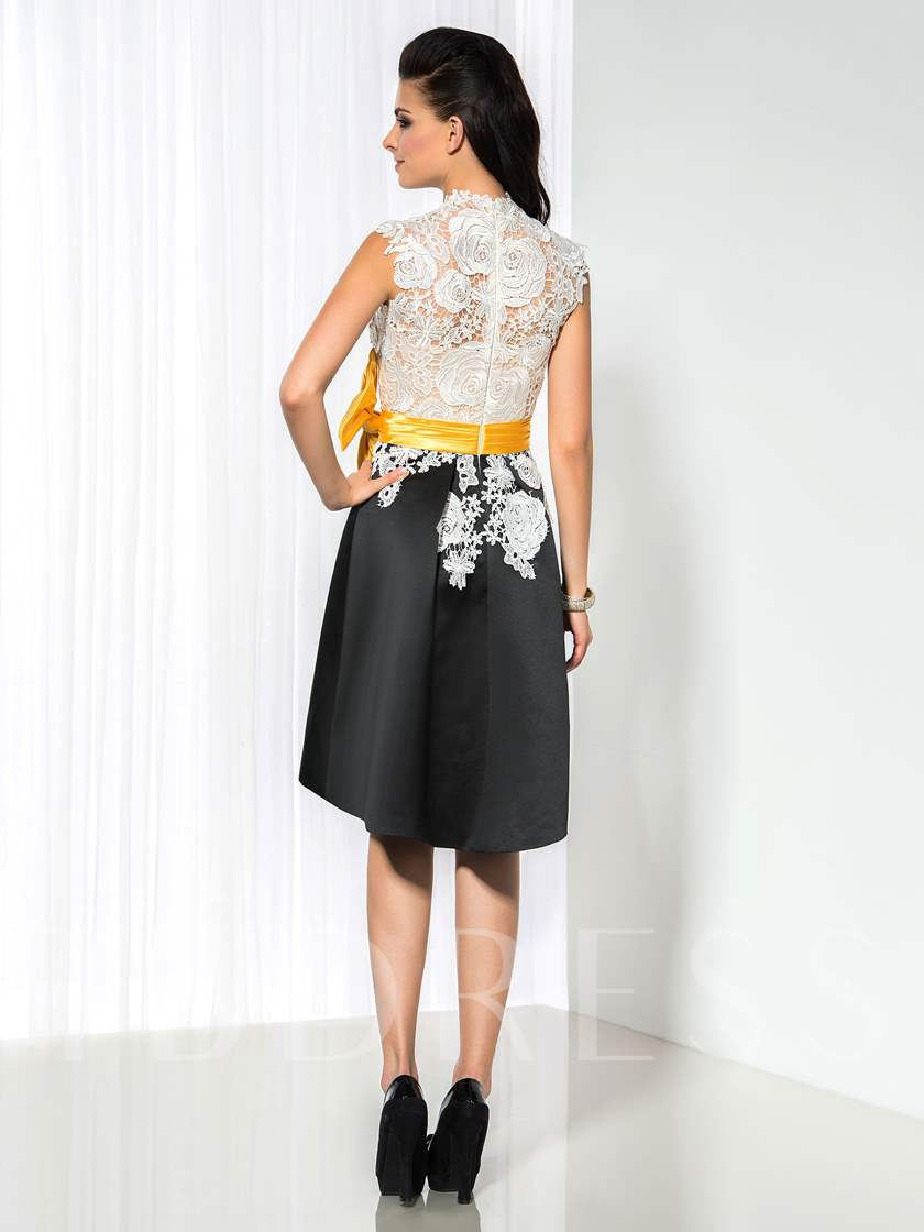 High Neck A-Line Lace Bow Short Cocktail Dress