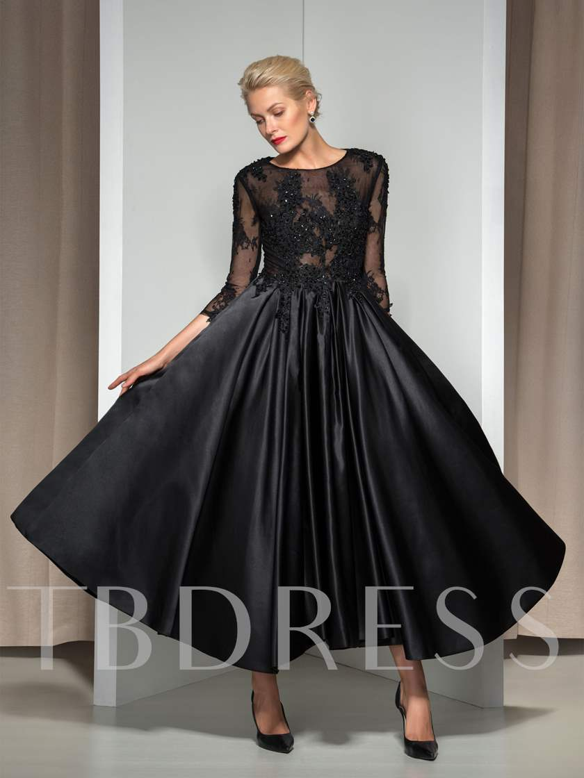 Beaded Lace Tea-Length Evening Dress with Sleeves