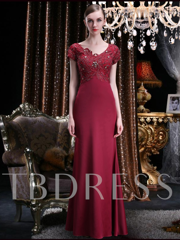 Image of Appliques Beading Short Sleeve Mother of the Bride Dress