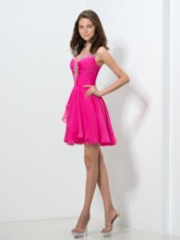 Straps A-Line Ruched Beaded Homecoming Dress