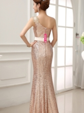 One-shoulder Sequins Sheath Evening Dress