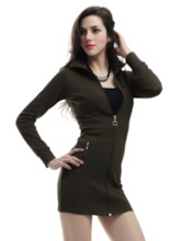 Plain Zipper Sheath Cotton Women's Long Sleeve Dress