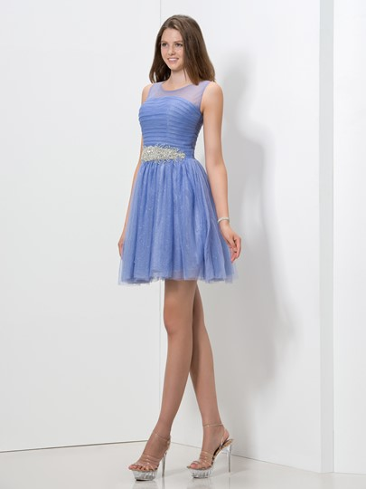 A-Line Scoop Neck Pleats Beading Homecoming Dress