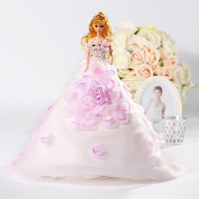 Unique Flowers Wedding Barbie Doll