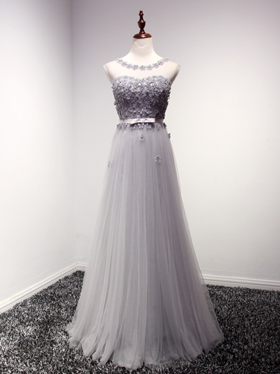 Tulle Scoop Neck Flowers A-Line Long Bridesmaid Dress