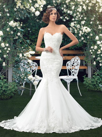 Lace Trumpet Wedding Dress with Rhinestone Belt