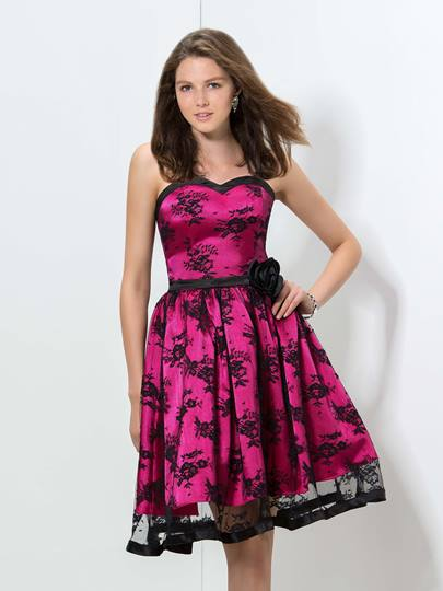 A-Line Sweetheart Lace Flower Homecoming Dress