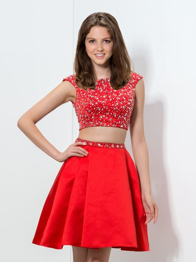 Two-Pieces A-Line Cap Sleeve Beaded Short Homecoming Dress