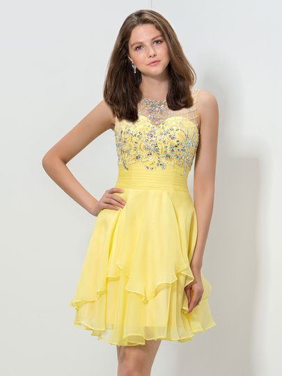 A-Line Round Neck Beaded Rhinestone Belt Homecoming Dress