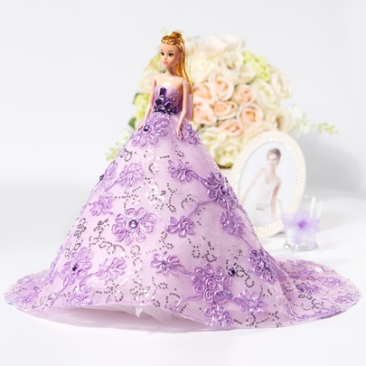 Romantic Purple Bridal Barbie Doll Gift
