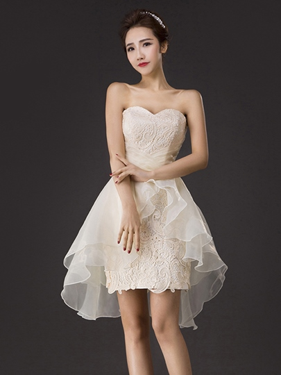 Sweetheart Neckline Sheath Lace Ruffles Homecoming Dress