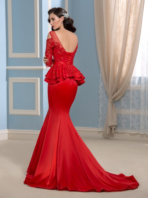 Square Mermaid Lace Beaded Bow Court Train Evening Dress