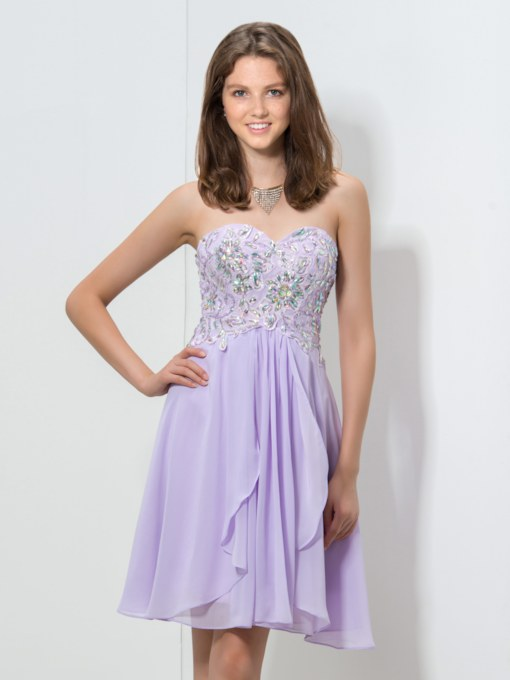 A-Line Sweetheart Rhinestone Sequins Homecoming Dress