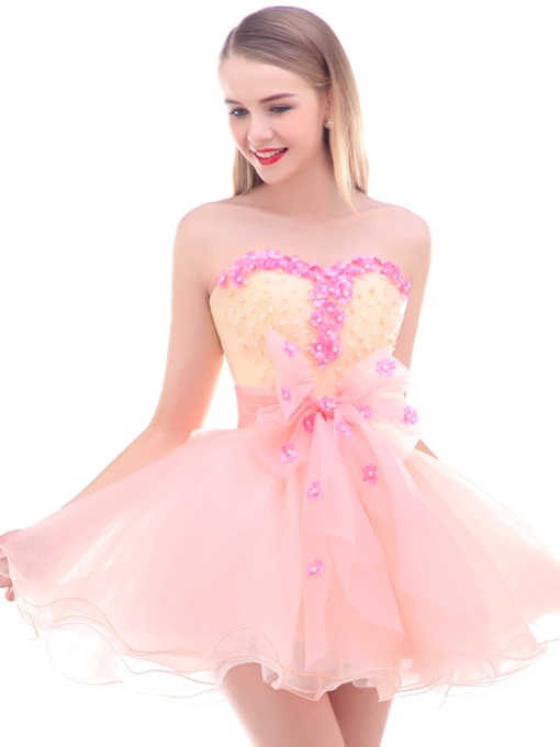 Sweetheart Flowers Pearls Mini Homecoming Dress