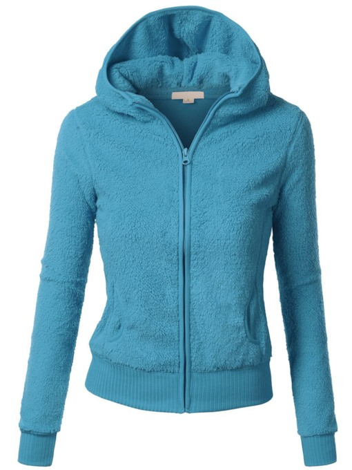 Simple Solid Color Long Sleeve Women's Hoodie