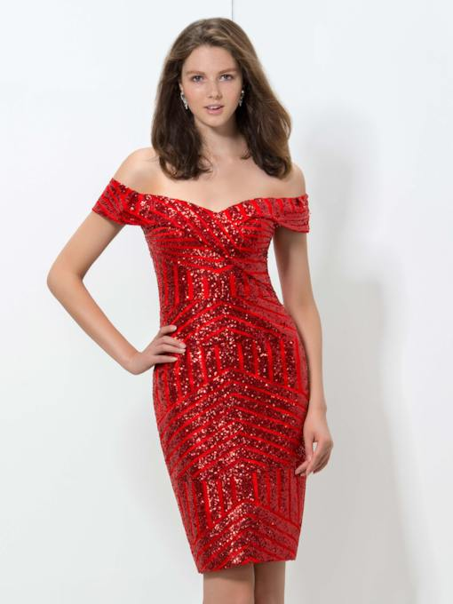 Sheath Off-the-Shoulder Sequins Short Cocktail Dress