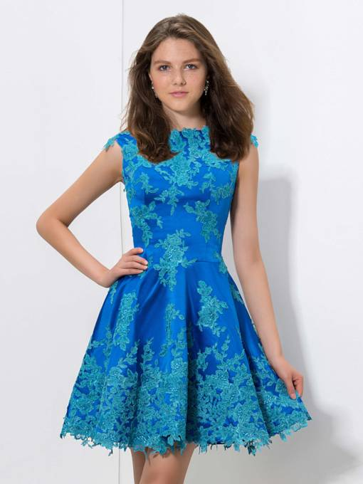 Jewel Neck A-Line Appliques Mini Homecoming Dress