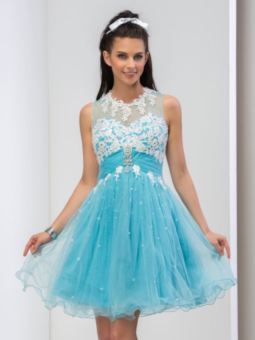 Jewel Neck A-Line Appliques Beaded Rhinestone Short Prom Dress