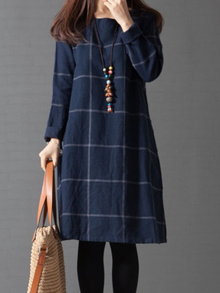 Dark Blue Round Neck Plaid Women's Long Sleeve Dress