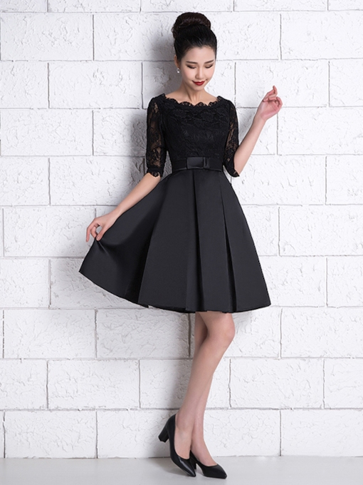 Bowknot Half Sleeve Lace Short Black Cocktail Dress