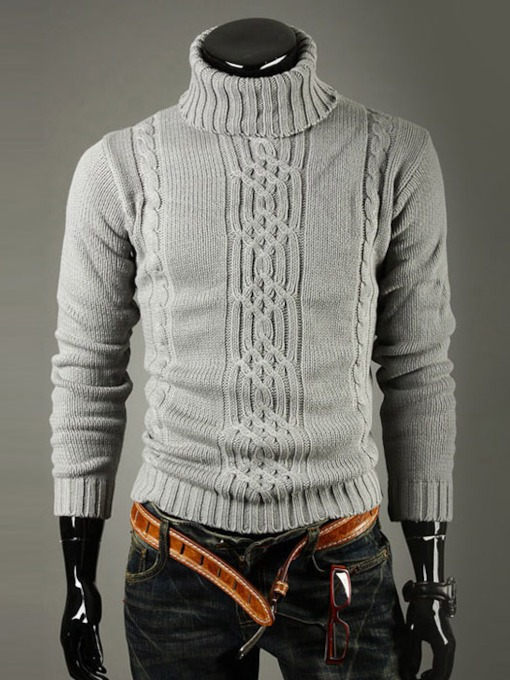 Turtleneck Decorated Men's Sweater