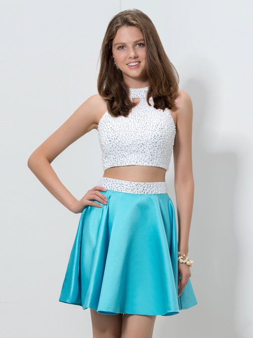 High Neck Two Pieces A-Line Pearls Beaded Short Homecoming Dress