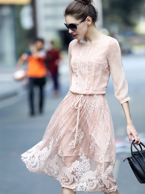 3/4 Sleeve Lace up Light Pink Women's Day Dress