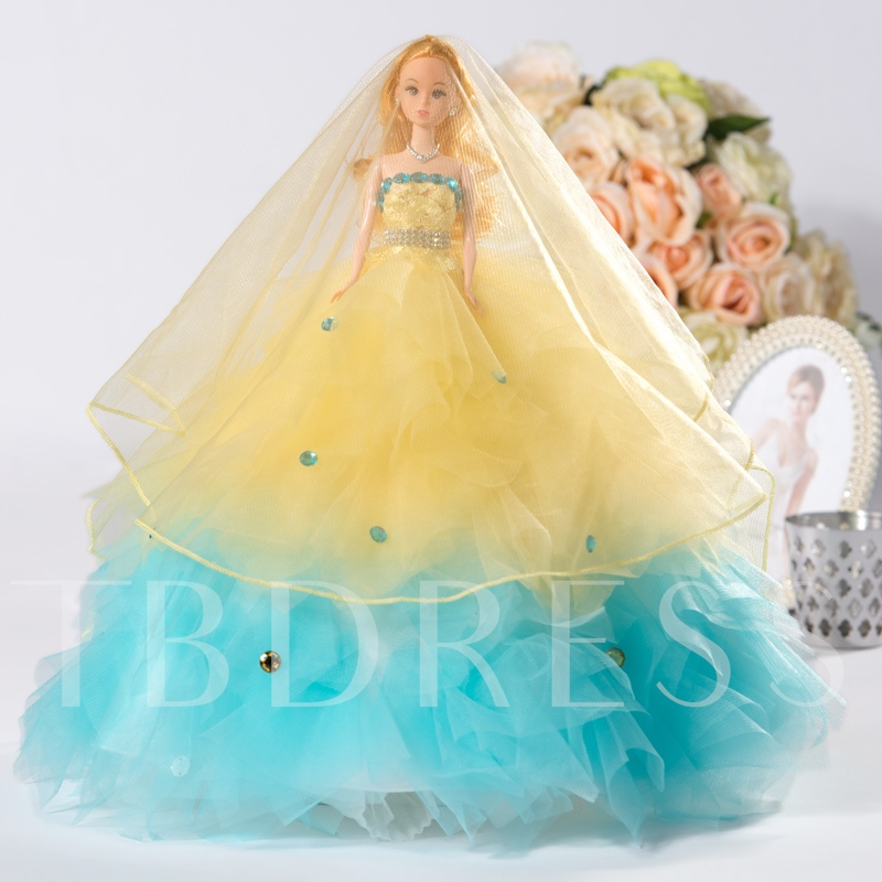 Girl`s Two Colored Wedding Barbie Doll