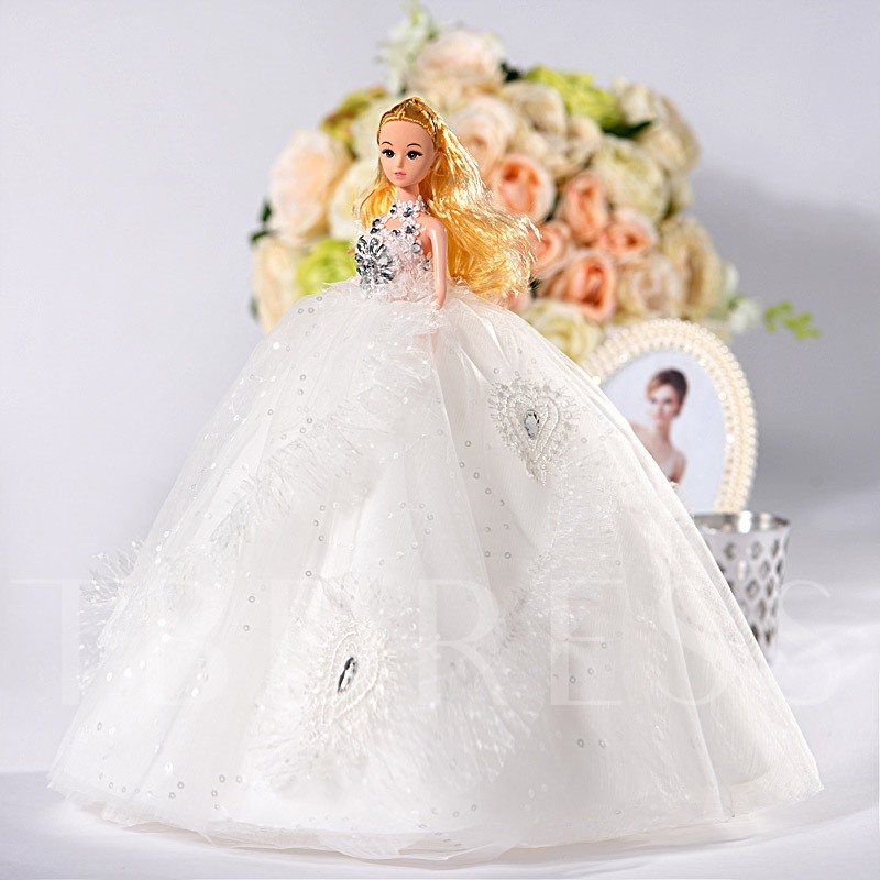 Sequins Princess Ball Gown Wedding Barbie Doll