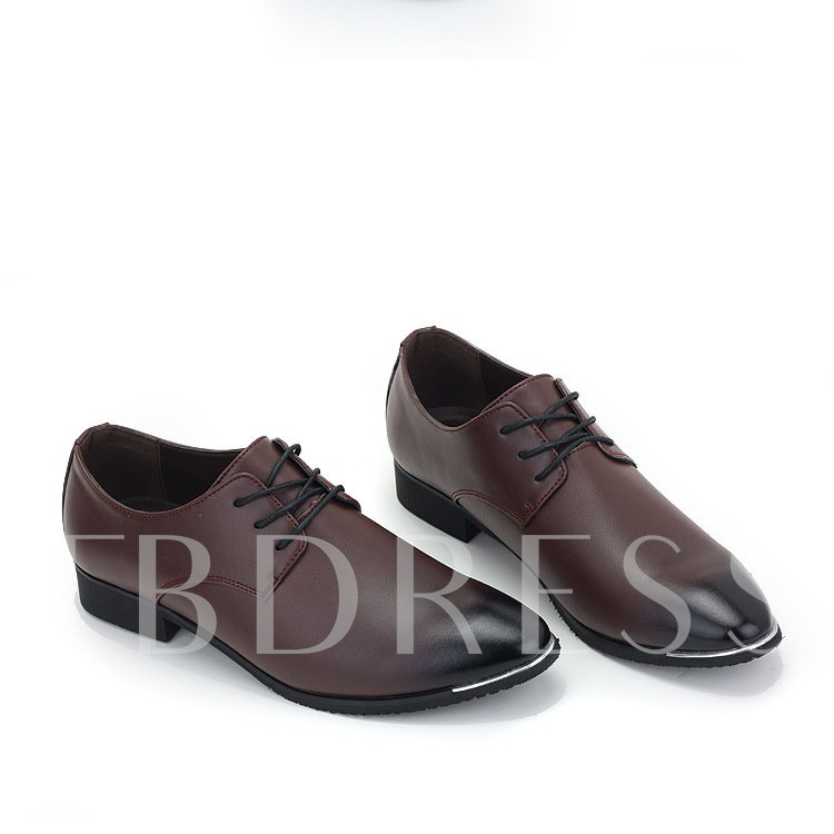 Pointed Toe Lace-Up Front Flat Heel Low-Cut Upper Men's Oxfords