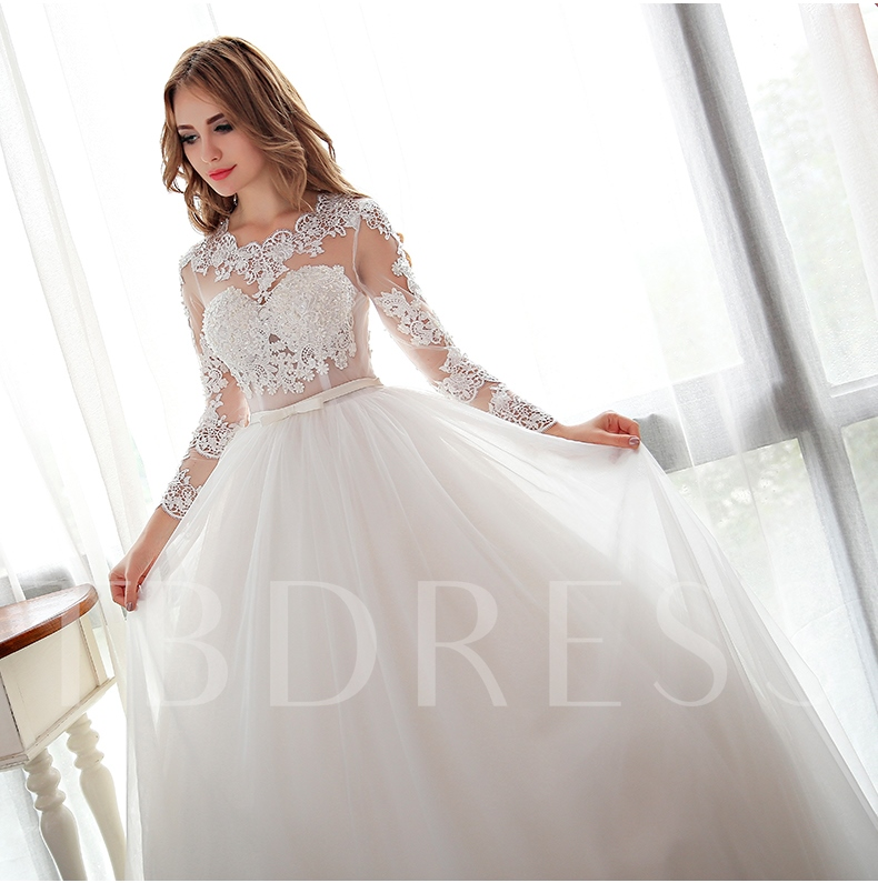 Designer Open Back Lace Ball Gown Long Sleeve Wedding