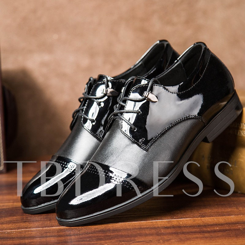 Pointed Toe Square Low Heel Color Block Men's Oxfords