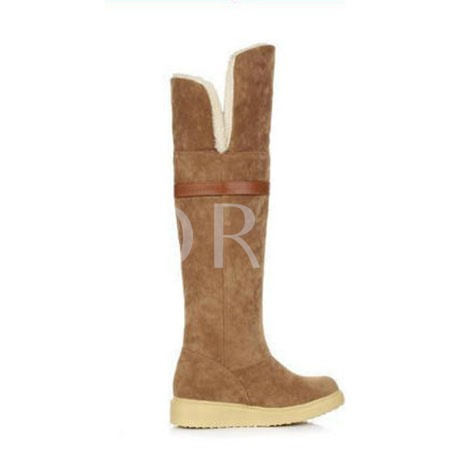 Short Floss Buckle Slip-On Knee-High Women's Snow Boots