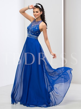 Beaded Jewel A-Line Floor-Length Prom Dress