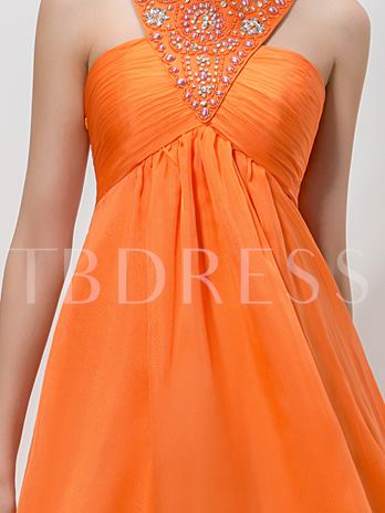 Jewel Neck A-Line Beaded Rhinestone Asymmetric Homecoming Dress