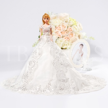 Sequins Bowknot Wedding Barbie Doll
