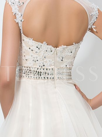 Jewel Neck A-Line Appliques Beaded Sequins Homecoming Dress