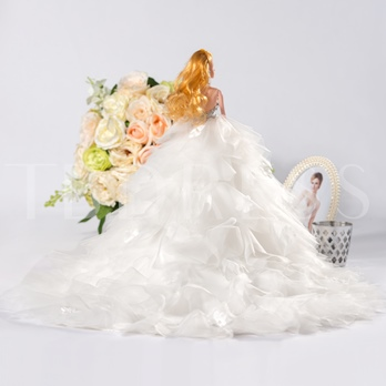 White Floral Wedding Barbie Doll