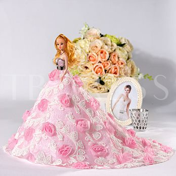 Stunning Floral Beaded Princess Barbie Doll Gift