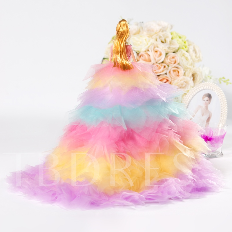 Colorful Tiered Tulle Bridal Barbie Doll Gift