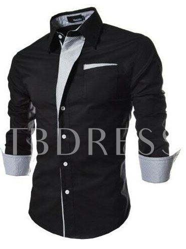 Lapel Single-Breasted Men's Long Sleeve Shirt