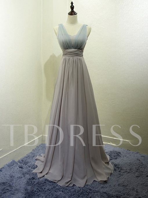 Ruched A-Line Long Bridesmaid Dress