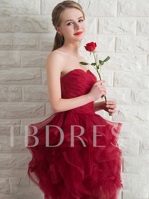 Sweetheart Ball Gown Ruched Ruffles Homecoming Dress