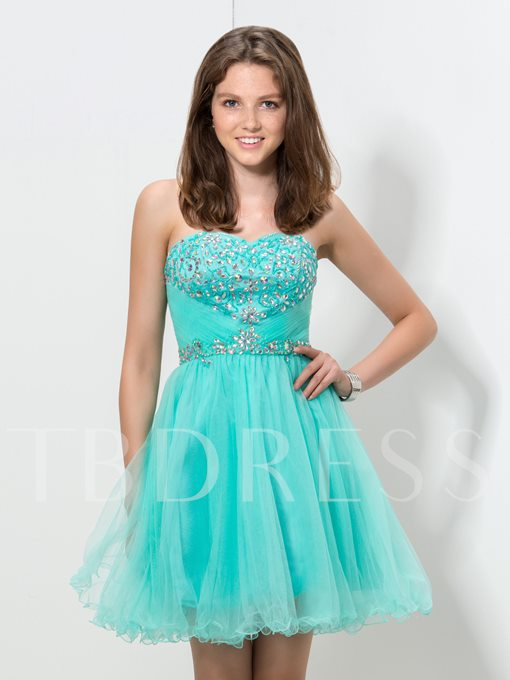 Sweetheart A-Line Beaded Ruched Homecoming Dress