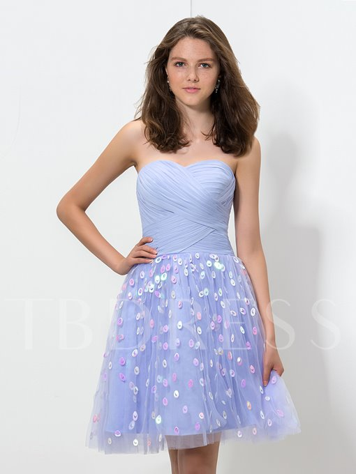 A-Line Sweetheart Ruched Sequins Homecoming Dress