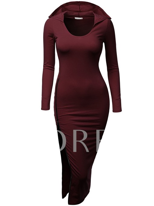 Plain Split Women's Hooded Dress