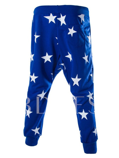 Stars Printed Middle Waist Fashion Men's Casual Pants