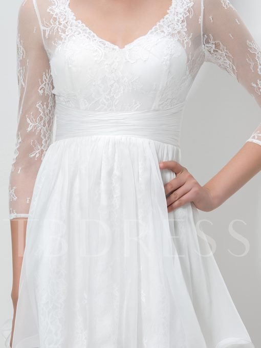 3/4 Length Sleeve V-Neck Lace Homecoming Dress
